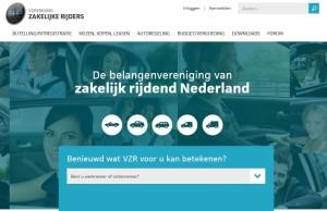 Een screenshot van de nieuwe website van VZR