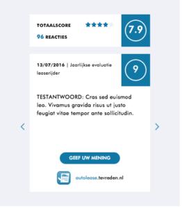 Voorbeeld widget voor plaatsing website